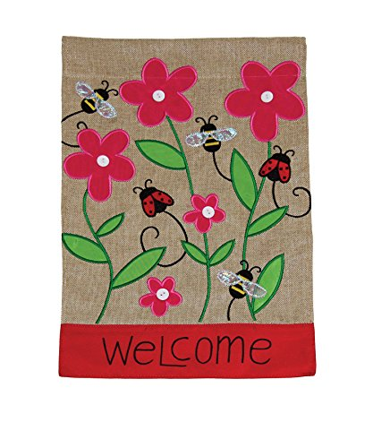 Toland Home Garden Bees & Ladies 12 x 18 Inch Decorative Spring Flower Welcome Burlap Flag