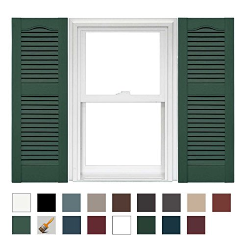 Mid America Cathedral Open Louver Vinyl Standard Shutter - 1 Pair 14.5 x 55 028 Forest Green