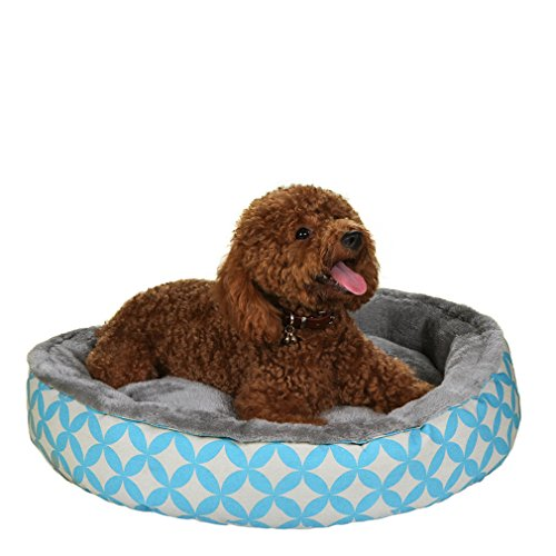 QIAOQI Dog Bed Round,Soft Plush Pet Bed Cuddler Donut Bed Sleeper for Cats and Small Dogs Medium Lattice Print