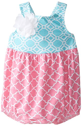 Flap Happy Baby Girls' Bubble Romper with Snaps, Trellis Pink, 18 Months