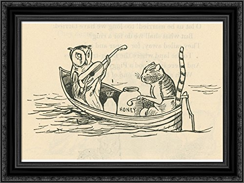 (The Owl and The Pussycat 24x18 Black Ornate Wood Framed Canvas Art by Edward)