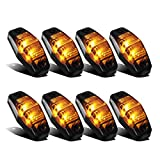 Partsam 8pcs 12V LED Light 2 Diodes Smoke Lens/Amber Universal Mount Clearance Side Marker Trailer Fender Lights