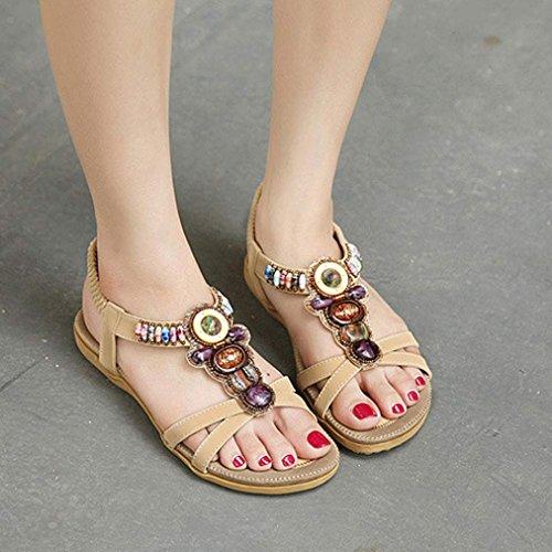 YANG-YI Clearance Fashion Beaded Clip Toe Flats Bohemian Herringbone Sandals (Khaki, US-9.5) by YANG-YI Sandals (Image #1)