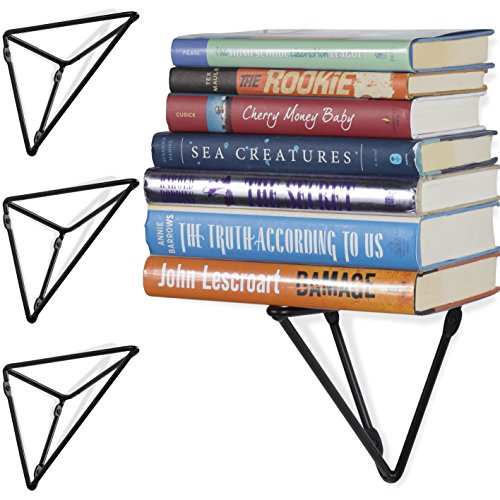 Wallniture Prismo Wall Mount Geometric Triangle Floating Book Shelves Stands - Custom DIY Heavy Duty Iron Brackets Set of 4 - Triangle Geometric