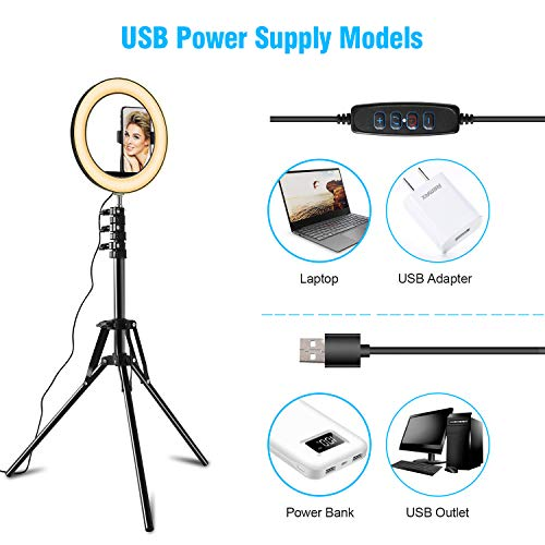 Selfie Ring Light with Tripod Stand and Cell Phone Holder for Live Stream, SPRITREE 10.2\
