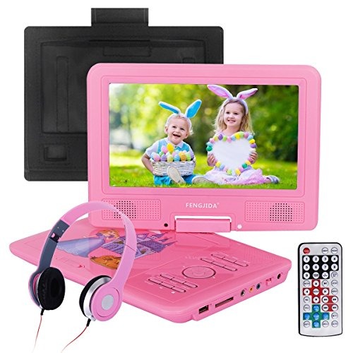 2018 Upgraded 9.5-inch Portable DVD Player with Headrest Mount Holder, Headphone, Rechargeable Battery, 270°Swivel Screen, 5.9 ft Car Charger SD Card Slot and USB Port - Pink by FENGJIDA