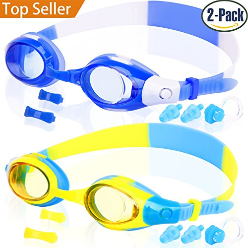 Kids Swim Goggles, COOLOO Swimming Glasses for Children and Early Teens from 3 to 15 Years Old, Anti-Fog, Waterproof, UV - Rx Kids Glasses