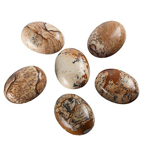 2pcs Top Quality Natural Picture Jasper Oval Cabochon Flatback Gemstone Cabochons 20x15mm #GN20-B