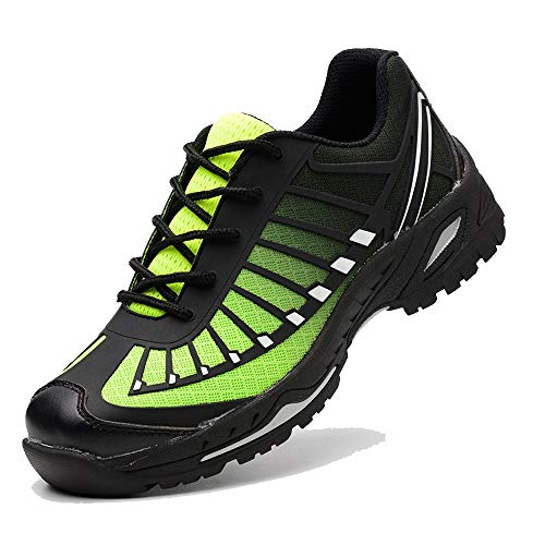 SUADEX Steel Toe Shoes Men, Indestructible Work Shoes Breathable Industrial Construction Non Slip Puncture Proof Composite Safety Toe Shoes Green Size 12.5 Women/11 Men ()
