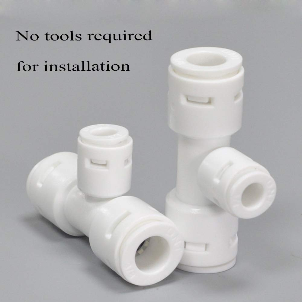 Push-to-Connect 3//8-Inch by 3//8-Inch by 1//4-Inch OD for RO Water Reverse Osmosis 5 Pack Push-fit Reducing Tee