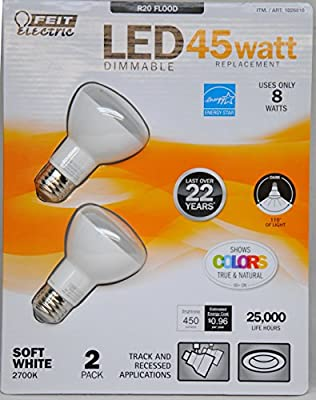 Feit Eelctric 1026816 8 Watt LED Dimmable 45-Watt Replacement Bulbs, Soft White, Pack of 2