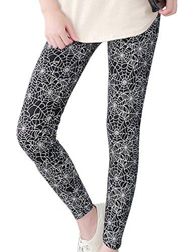 Naier Leggings Ultra Soft Women Yoga Pants High-Waist Tummy Control Spider web (Black,US 0-12)]()