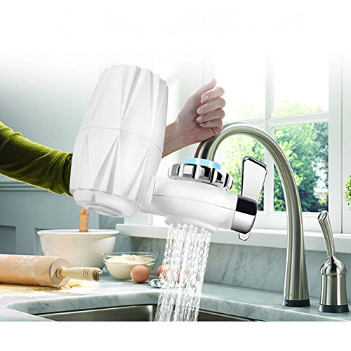 Faucet Water Filter, Water Filter Faucet Mount with 0.1 Micron Purification Filter - Faucet Mount Filter for Kitchen,Wash Fruits, Drink Directly, Includes:1 System+1 Ceramic Filter Cartridge