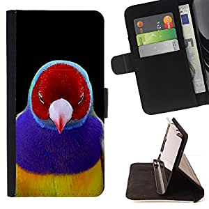 BullDog Case - FOR/Samsung Galaxy A3 / - / bird red purple tropical beak feather /- Monedero de cuero de la PU Llevar cubierta de la caja con el ID Credit Card Slots Flip funda de cuer