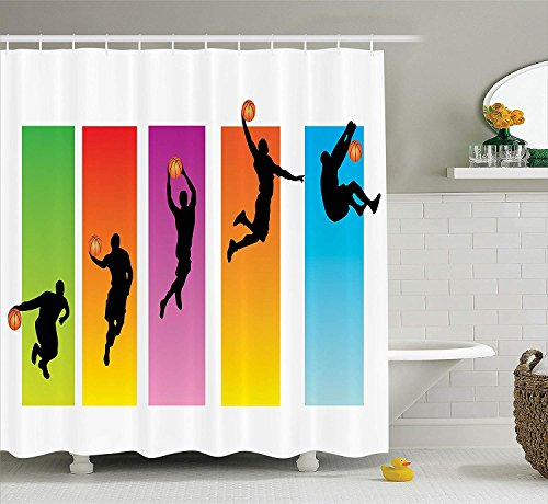 s Decor Collection, Basketball Slam Dunk Image Sequence of Actions Player Game Match Design, Polyester Fabric Bathroom Shower Curtain Set with Hooks, Green Red Purple Blue Orange ()