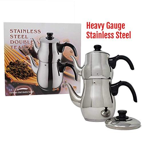 Turkish Samovar Style Stainless Steel Double Handle Teapot Tea Maker Kettle 1.1 L & 2.5 L Capacity - Teapot Double Handle