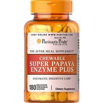 Puritans Pride Chewable Super Papaya Enzyme Plus, 180 Count