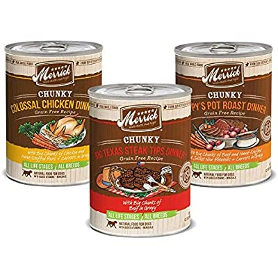 Merrick Chunky Canned Dog Food Variety Pack - 3 Flavors (12 Pack)