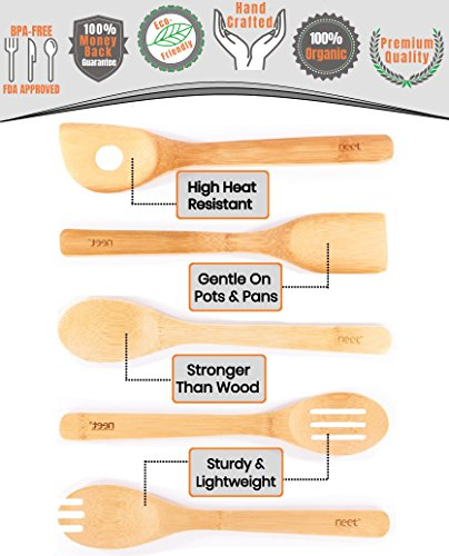 Organic Bamboo Cooking & Serving Utensil Set By Neet - 6 Piece Set | Spoon & Spatula Mix | Utensil Holder Organizer | Non Stick Wooden Kitchen Gadgets | Great Gift For Chefs & Foodies