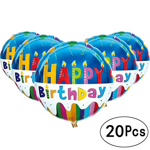 AWESON PARTY 18 inch Blue Happy Birthday Round Shape Foil Mylar Balloons Cup Cake Helium Balloons Baby Shower Party Decorations, 20pcs