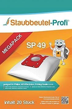 20 Staubsaugerbeutel SP49 geeig für Philips FC 9197//91 Performer Pro