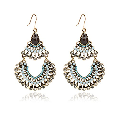 IYOCHO Diamond Crystal Dangle Earrings Retro Boho Style Tassels Blue -