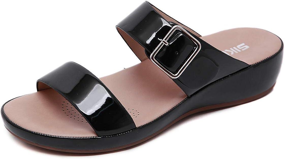 C Noir ChayChax Mules en Cuir Femme /Ét/é Mode Sandales Bout Ouvert Plates Compens/ées Pantoufles dint/érieur et ext/érieur Chaussons de Plage Confortables Chaussures d/ét/é 36 EU