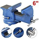 Topeakmart Blue Removable 6'' Bench Vice Table top Vice with Swivel Base