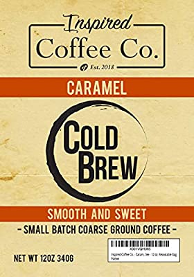 Caramel - Flavored Cold Brew Coffee - Inspired Coffee Co. - Coarse Ground Coffee - 12 oz. Resealable Bag