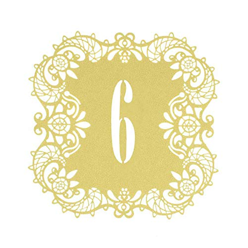 Miao Express 20pcs/lot Wedding Table Number Cards Laser Cut Ivory Gold Black Teal Blue Cards Numbers 1 to 20 Rustic Wedding Table Decoration,Gold