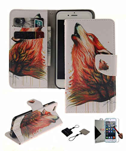 iPod Touch (5rd Generation) Wallet Case , Castle Cas [Colorful Wolf] Duplex Design Flip Card Slot Slim Fit Magnetic Premium Polyurethane Leather TPU Cover Case With Glass Screen - Orange (A Cas Of A Ipod)