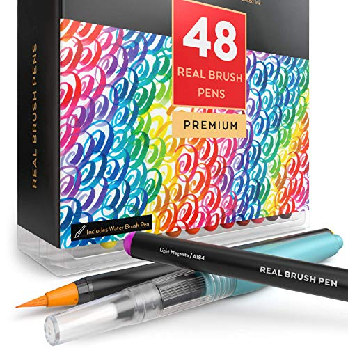 Arteza Real Brush Pens, 48 Colors for Watercolor Painting with Flexible Nylon Brush Tips, Paint Markers for Coloring, Calligraphy and Drawing with Water Brush for Artists and Beginner Painters (Windsor Newton Calligraphy)