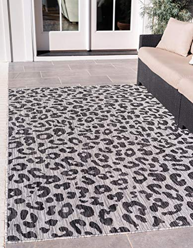 Unique Loom Outdoor Safari Collection Leopard Animal Print Transitional Indoor and Outdoor Flatweave Light Gray  Area Rug (6' 0 x 9' 0) (Rug Leopard)
