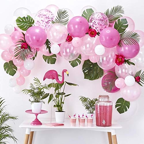 65pcs Balloons and 14pcs Artificial Leaves DIY Balloon Garland Hawaiian Flamingo Theme Party Summer Tropical Party Decor Pink Rose Red White Confetti Balloons Garland Perfect for Baby Bridal -