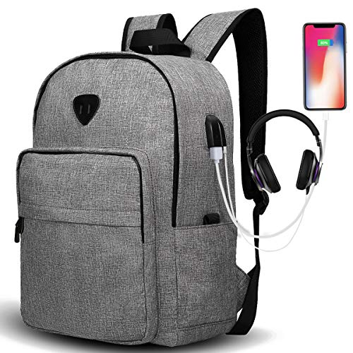 Travel Laptop Backpack, Lightweight Backpack Durable School Laptop Backpack with USB Charging Port Casual Daypack Water Resistant Bookbag for Men and Women Gray by Ibagbar