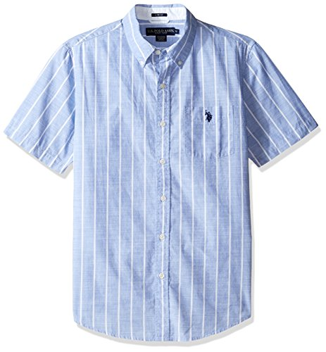 U.S. Polo Assn. Men's Striped, Plaid Or Print Single Pocket Slim Fit Sport Shirt, 9722-White, XL (Shirt Sport Plaid Pocket)