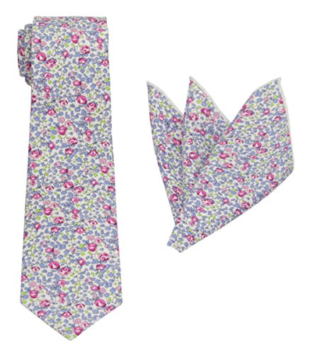 Mens Charm Various Florals Cotton Tie Set:Neckite with Pocket Square (Rose Pink with - Charm Square Pink