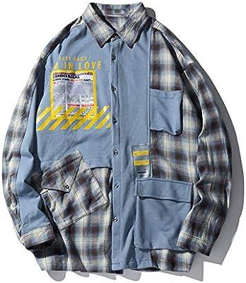 WSDMY Multi Bolsillos Bloque de Color Patchwork Camisas a Cuadros de Manga Larga Streetwear Hombres Hipster Camisa Casual Tops de Moda Asiático M Azul: Amazon.es: Deportes y aire libre