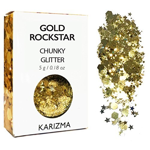 Gold Rockstar Chunky Glitter ✮ COSMETIC GLITTER KARIZMA ✮ Festival Beauty Makeup Face Body Hair Nails by KARIZMA
