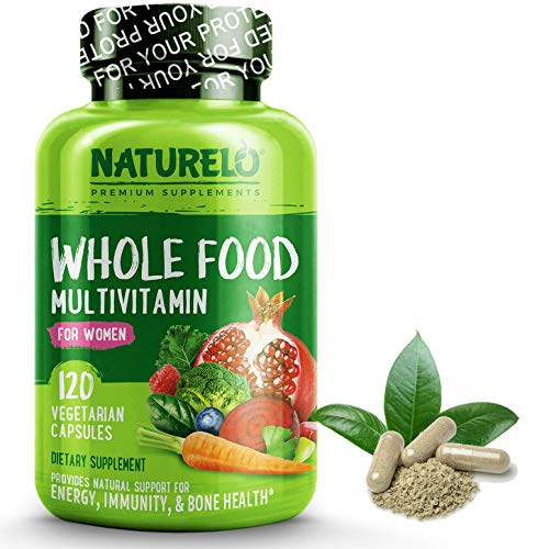 NATURELO Whole Food Multivitamin for Women - Natural Vitamins, Minerals, Raw Organic Extracts - Best Supplement for Energy and Heart Health - Vegan - Non GMO - 120 Capsules (Best Organic Whole Food Multivitamin)
