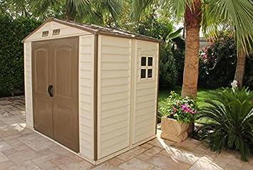 Caseta de jardín (PVC DURAMAX woodstyle 4.13 M² (2.46 X 1.68 m): Amazon.es: Bricolaje y herramientas