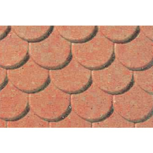 JTT Scenery Products Plastic Pattern Sheets: Scalloped Edge Tile, 5mm (Roofing Plastic Tile)