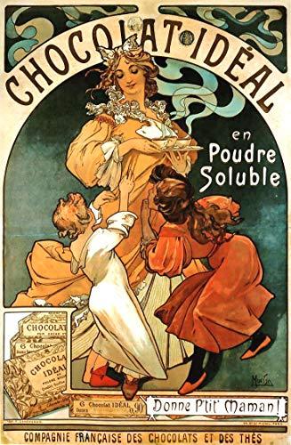 Alphonse Mucha Paintings - WholesaleSarong Chocolate Ideal Alphonse Mucha Art Nouveau Poster Big Wall Decor Paintings and Prints