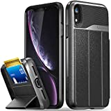 Vena iPhone XR Wallet Case, [vCommute][Military Grade Drop Protection] Flip Leather Cover Card Slot Holder with Kickstand Compatible with Apple iPhone XR (Space Gray/Black)