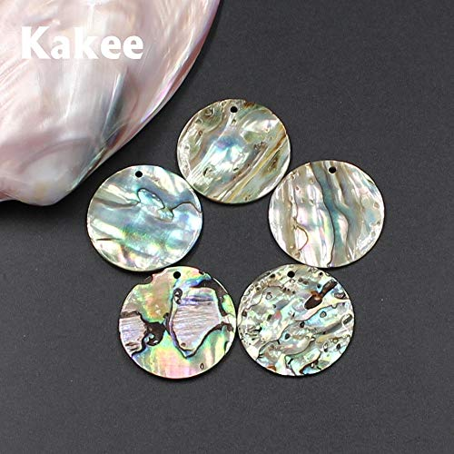 Calvas 25 MM DIY Charms Round Natural New Zealand Abalone Shell Beads for Jewelry Making Fashion Women Earrings Beading Materials - (Item Diameter: 5 - Shell Round Abalone Bead