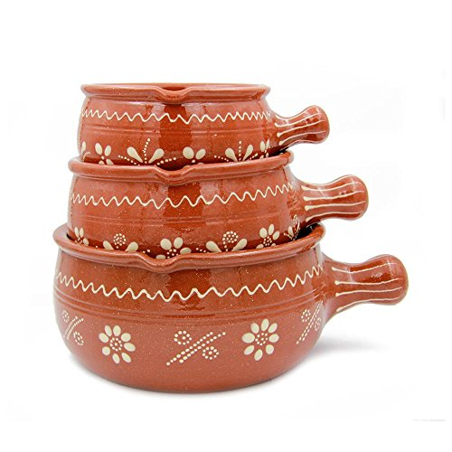 Traditional Portuguese Hand-painted Vintage Clay Terracotta Cooking Casserole