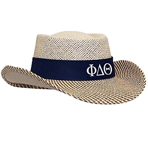 (Phi Delta Theta Straw Hat Navy Blue)