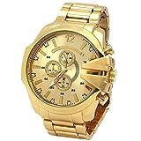 Mens Gold metal Band Gold Bridge Bezel Gold Face Water proof Quartz Wrist Watch Watches
