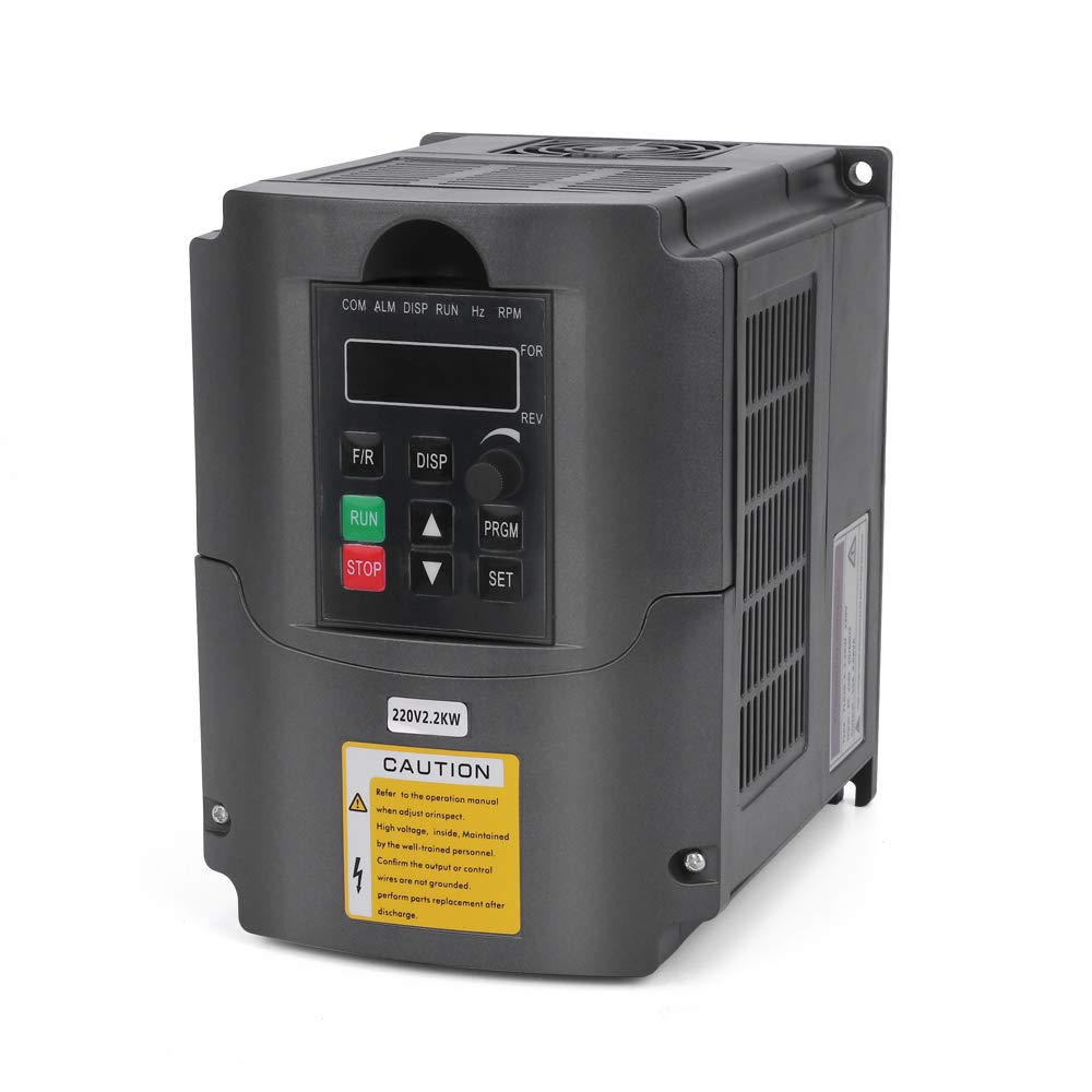 VFD 220V 2.2KW Convertitore di frequenza variabile da 3hp, artigiano168 CNC VFD Convertitore di convertitore di frequenza con motore per controllo di velocità del motore mandrino Serie YL (2,2KW, 220V) craftsman168
