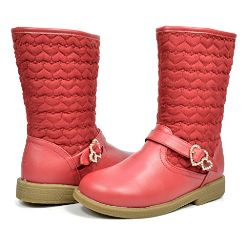 Dream Pairs AMORE New Girls Winter Lovely Heart Zipper Closure Fully Fur Lining Kids Boots Red Size 10